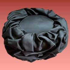 1960s Pillbox Hat Black Satin Scrunch