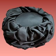 Classic 1960s Pillbox Hat Black Satin Scrunch