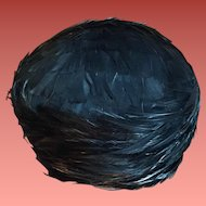 1960s Women's Hat Iridescent Black Feathers One Size