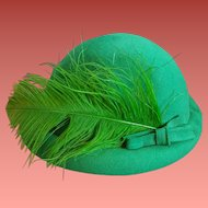 Late 1940s Women's Hat Green Feather and Hat Pin