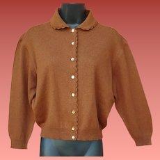 Vintage Jantzen Wool Sweater Cinnamon Brown Size M-L