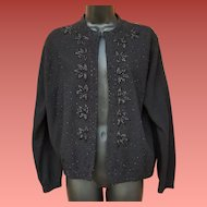 1960s Beaded Sweater Black Glass Leaves on Black Large