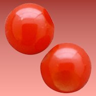Two Red Bakelite Buttons 1930s Perfect Spheres