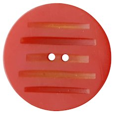 Large Bakelite Button Roaring Red Carved 1930s