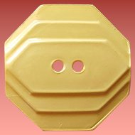 Carved Butter Yellow Bakelite Button Art Deco 1930s