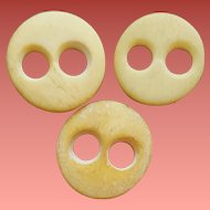 Antique Bone Buttons Hand Carved Two Holes