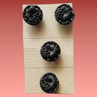 Antique Victorian Glass Buttons Molded Fancy