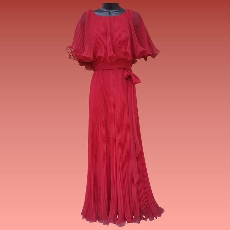1970s Evening Gown Accordion Pleated Cranberry Size Small ...