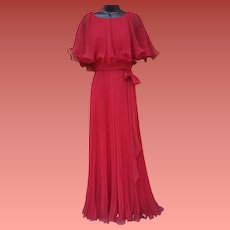 1970s Evening Gown Accordion Pleated Cranberry Size Small