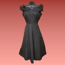 1950s Cocktail Dress Black Moire Size Small