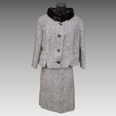 1960s  Women's Tweed Suit With Mink Collar Size S - M