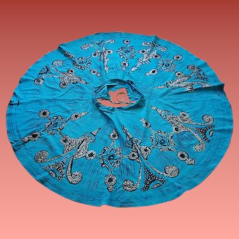 1950s Handpainted Painted Mexican Circle Skirt With Sequins