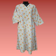 Early 1940s Cotton Dress Depression Era Housewife Size X-Lg
