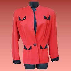 1940s Women's Gabardine Jacket Red Black Art Deco