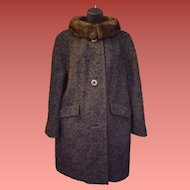 1960s Wool Stroller Coat Mink Collar Medium - Large