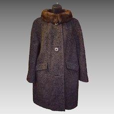 1960s Wool Stroller Coat Mink Collar Medium - Large