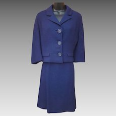 1960s Navy Blue Wool Suit Size Small Minty