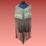 Vintage Spanish Shawl Embroidered Long Fringe