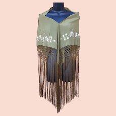 Vintage Spanish Style Shawl Embroidered Long Fringe