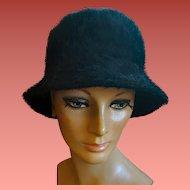 Black Angora Bucket Hat Made in France