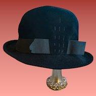 Black Velour Women's Hat Fedora Style Small - Medium