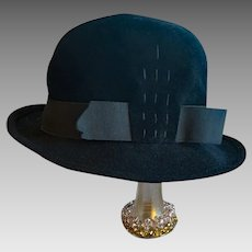 Black Velour Women's Hat Fedora Style Small - Medium