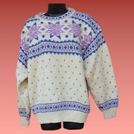 Scandinavian Sweater 100% Wool Lavender Blue White