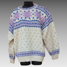 Scandinavian Sweater 100% Wool Lavender Blue White