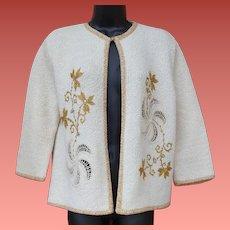 1960s Party Sweater Gold Metallic and Rhinestones Medium