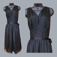1950s Grecian Style Nightgown Black Nylon Lg