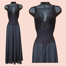 Black Olga Nightgown Lace Straps Size Large