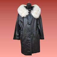 Vintage Black Leather Coat White Fox Color Mint