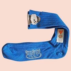 Vintage Men's Dress Socks 1968 Bright Blue Medium