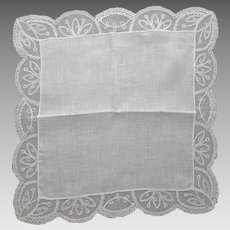White Lace Handkerchief Wedding Christening