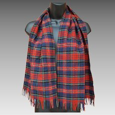 MacPherson Red Dress Tartan Wool Scarf Pendleton USA
