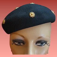 1940s Womens Hat Black Beret with Brass Flower Studs