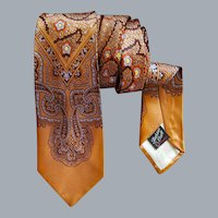 1950s Men's Vintage Rayon Necktie Amber Gray
