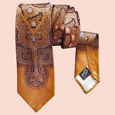 Superb Men's Vintage Rayon Necktie Amber Gray
