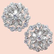1960s Rhinestone Shoe Clips Flashy Crystal Layers