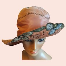 1920s Women's Hat Wide Brim Gold Bullion Trim