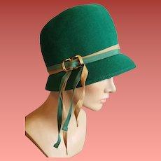 1950s Hat Green Wool Felt Cloche Bucket Style