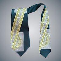 1950s Men's Necktie Art Deco Design Unworn