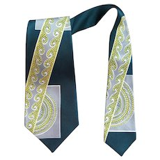 1950s Men's Necktie Art Deco Design Unworn