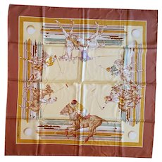 La Foret of Paris Silk Scarf Polo Horses Equestrian Hand Rolled