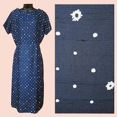 1950s Silk Dress Navy Blue White Print Size Medium to Large