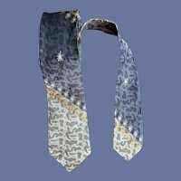 1960s Skinny Necktie Amoeba Metallic Gold Thread
