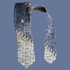 1960s Skinny Necktie Amoeba Metallic Gold Thread
