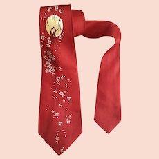 1950s Wide Necktie Spring Print Love Birds