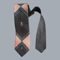 Gray and Pink Necktie Iconic 1960s MCM