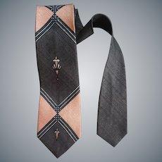 Gray and Pink Necktie Iconic 1960s Neck Tie